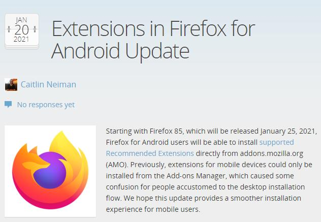 Android版Firefox 85将允许通过AMO安装附加组件  firefox插件 第1张